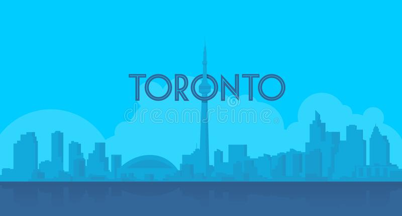 Toronto sky landmark in flat blue shilhouette. Officially the City of Toronto, is the capital of the Canadian province of Ontario. It is located within the stock illustration