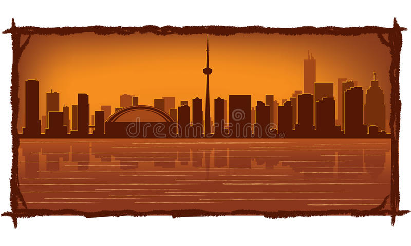 Toronto skyline. With reflection in water royalty free illustration