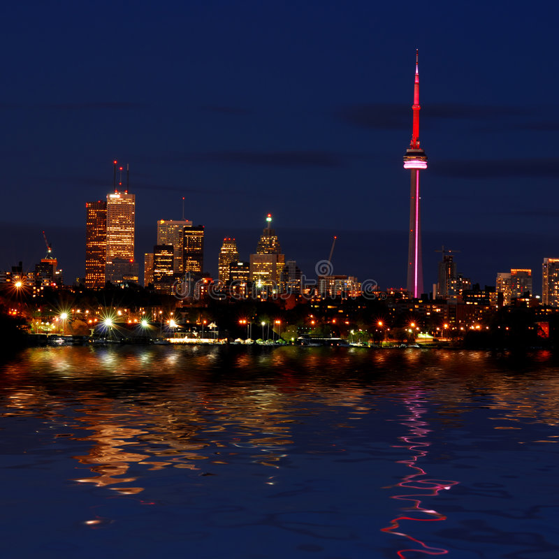 Free Toronto Skyline At Night Royalty Free Stock Photography - 5672187