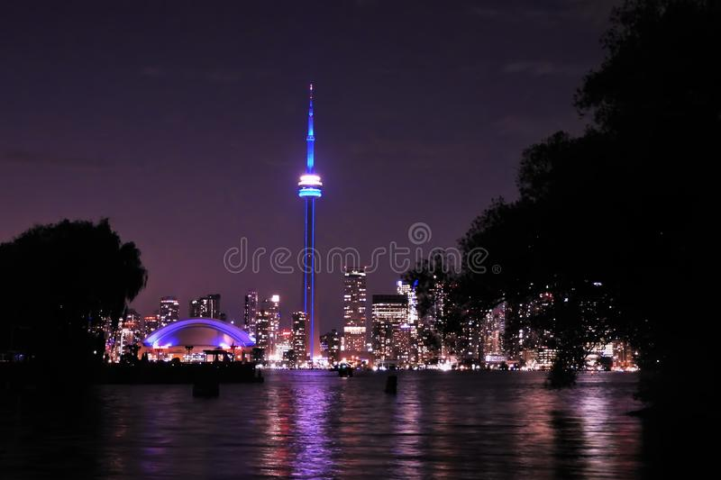 Toronto Skyline on a Clear Night royalty free stock image