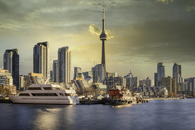 The Toronto skyline with the CN tower royalty free stock image