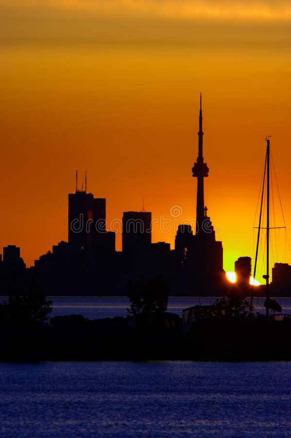Toronto Skyline at Dawn. Toronto Skyline with the CN Tower royalty free stock photography