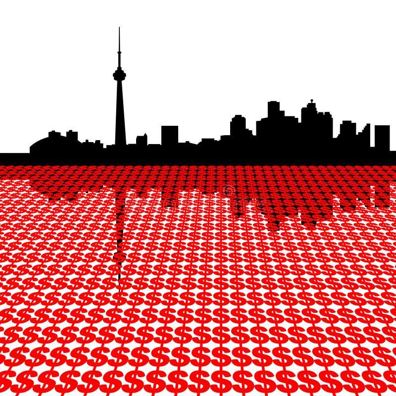 Toronto skyline with dollars. Toronto skyline with dollar symbols illustration vector illustration