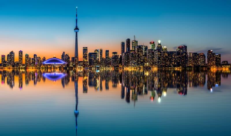 Toronto skyline at dusk stock images