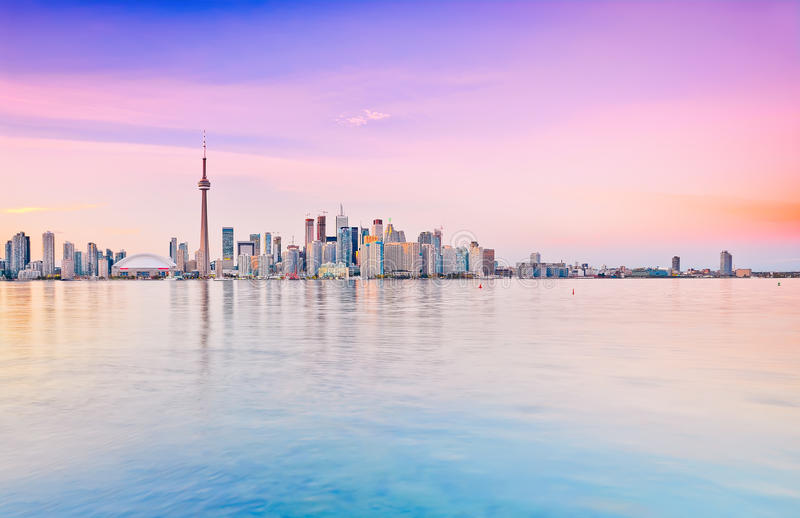 Toronto skyline at dusk royalty free stock images
