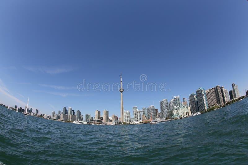 Toronto skyline through fisheye lens