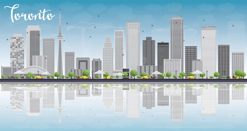 Toronto skyline with grey buildings, blue sky and reflection. stock illustration