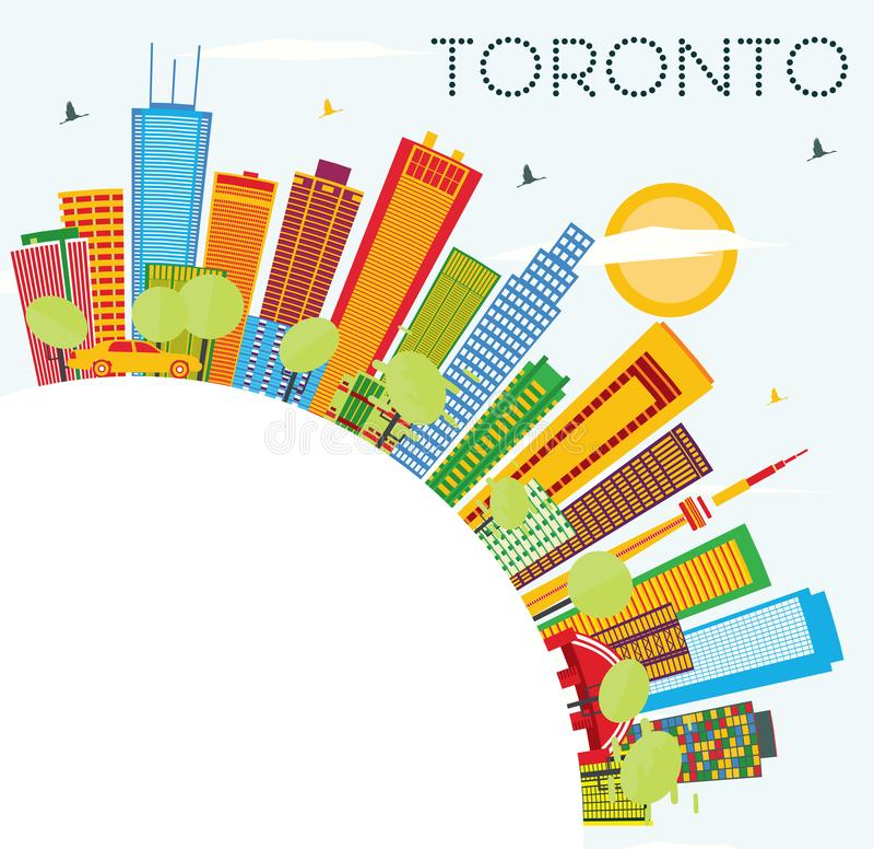 Toronto-Skyline mit Farbgebäuden, blauem Himmel und Kopien-Raum lizenzfreie abbildung