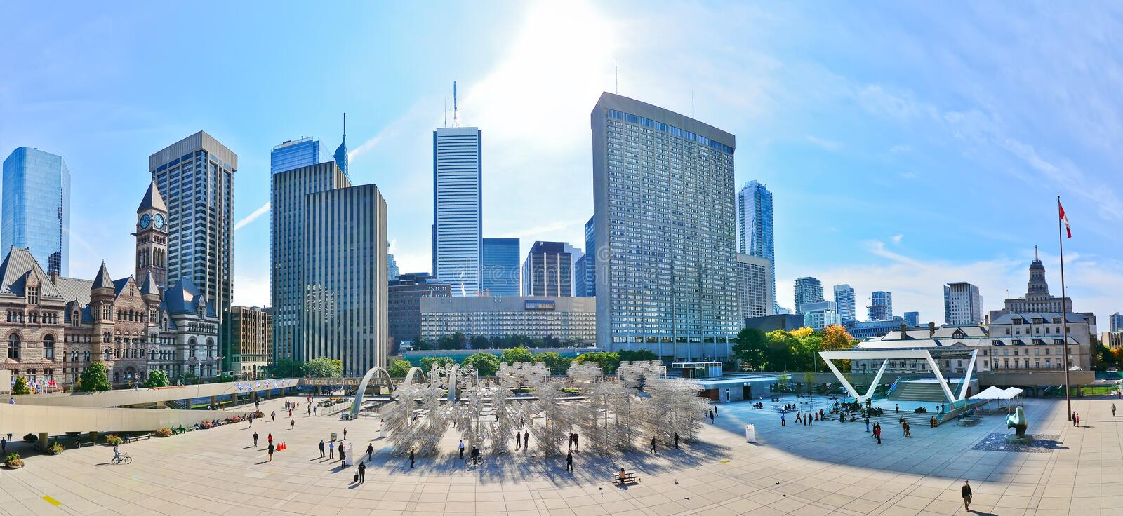 Toronto skyline and Nathan Phillips Square in Toronto stock photos