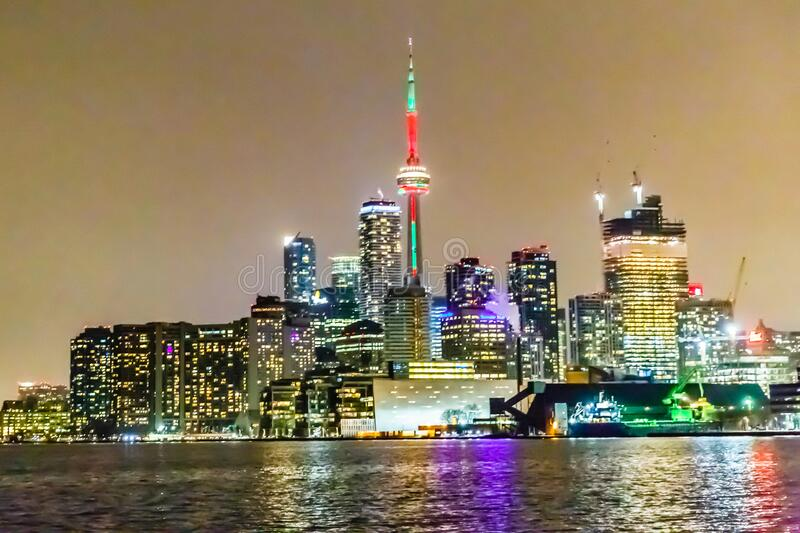 Toronto skyline at night, Ontario, Canada. Most of the photographed spot in the city royalty free stock photo