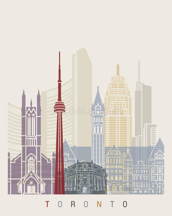 Toronto skyline poster. In editable vector file royalty free illustration