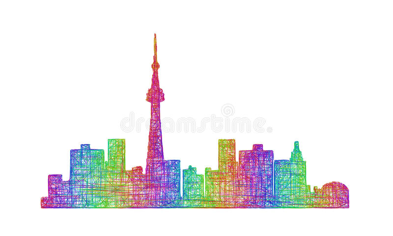 Toronto skyline silhouette - multicolor line art stock illustration