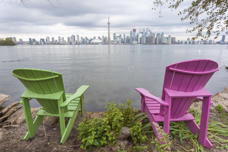 Toronto skyline view from the Centre Island stock photography