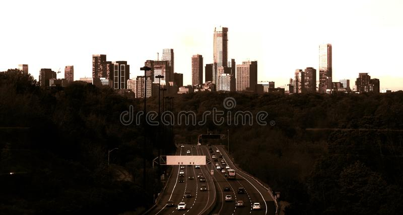Toronto skyline viewed from the North in sepia royalty free stock photo