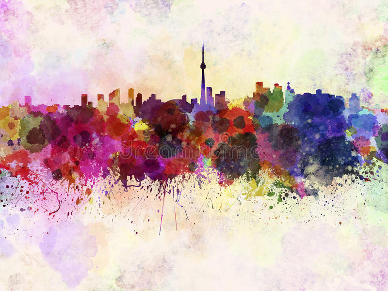 Toronto skyline in watercolor background royalty free illustration