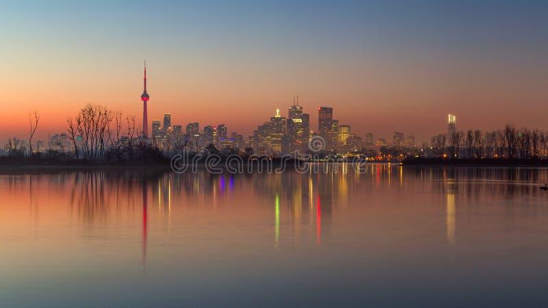 Toronto skyline on a winter evening royalty free stock photos