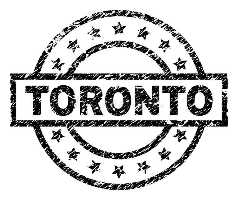 Scratched Textured TORONTO Stamp Seal. TORONTO stamp seal watermark with distress style. Designed with rectangle, circles and stars. Black vector rubber print of stock illustration