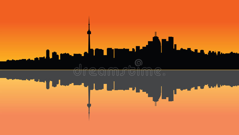 Toronto sunset. Illustration of a Toronto sunset and the reflection on the lake vector illustration