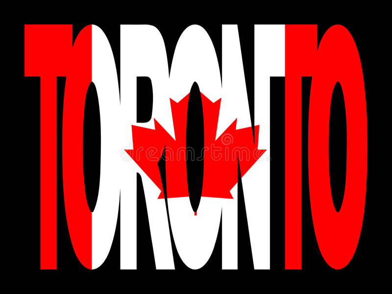 Toronto text with flag vector illustration