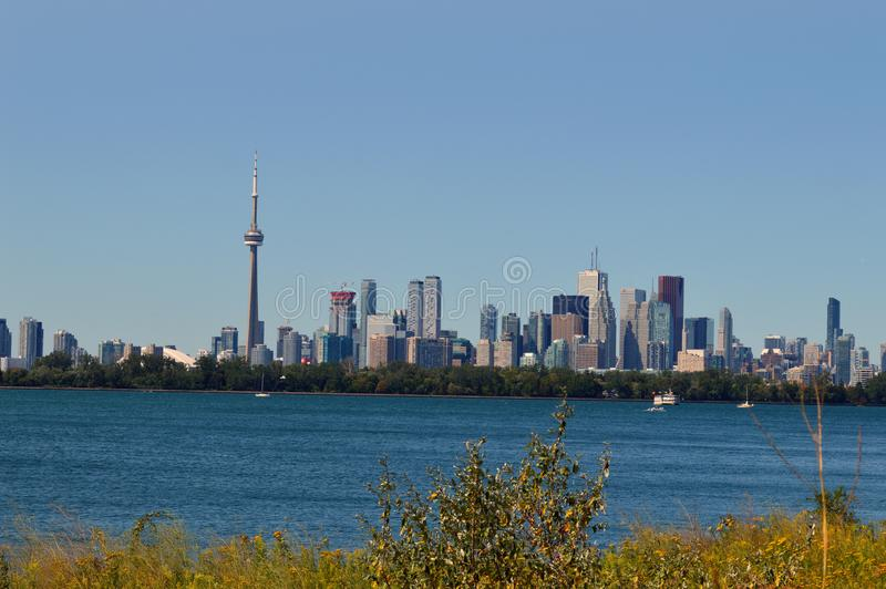 Toronto from Tommy Thompson. Picture taken from Tommy Thompson Park royalty free stock photos