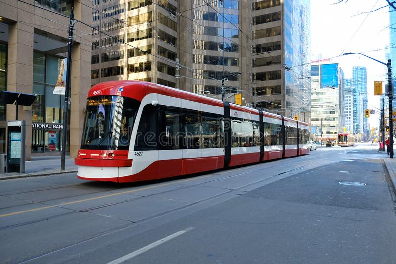 TORONTO, ONTARIO, CANADA - MARCH 23rd 2019 - Toronto TTC public transit - Public transportation in city`s downtown core. Streetcar stock images