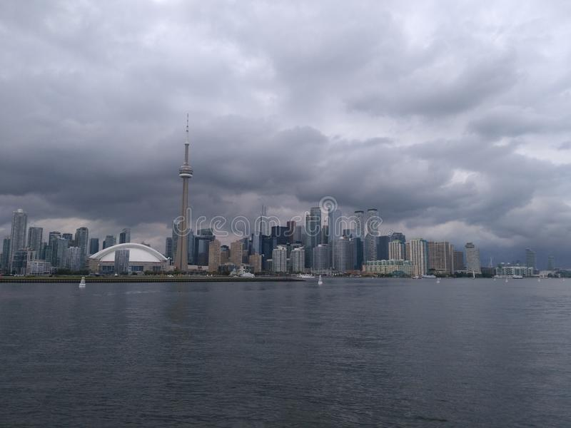 Toronto under the cloudy sky stock images