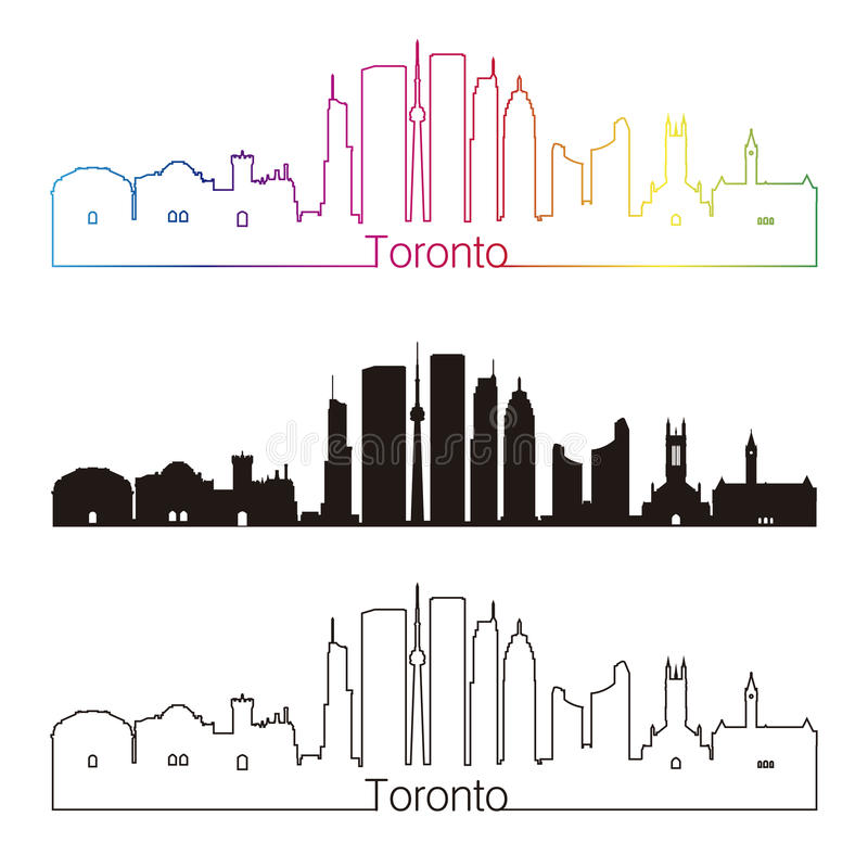 Toronto V2 skyline linear style with rainbow vector illustration