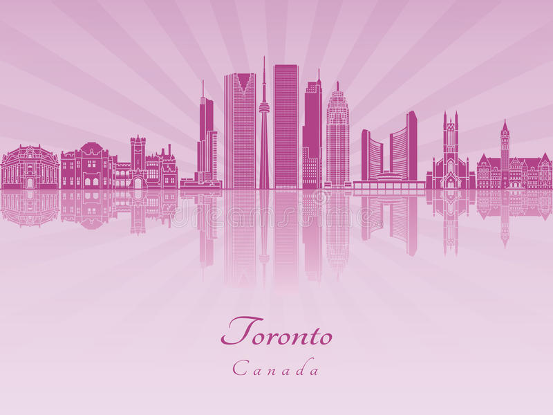 Toronto V2 skyline in purple radiant orchid stock illustration
