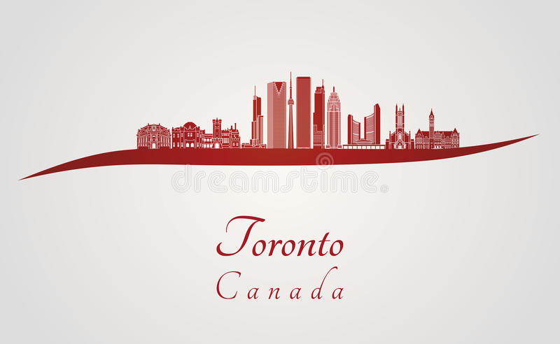 Toronto V2 skyline in red stock illustration
