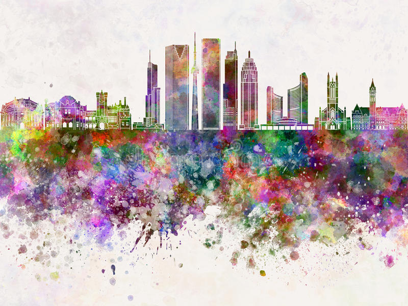 Toronto V2 skyline in watercolor background vector illustration