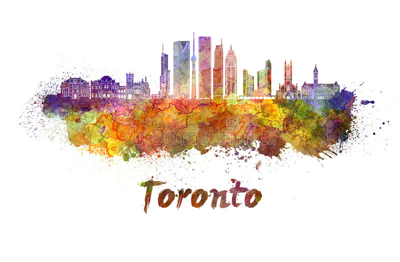 Toronto V2 skyline in watercolor vector illustration