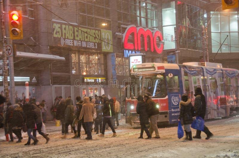 Toronto van de binnenstad tijdens een sneeuwval royalty-vrije stock foto