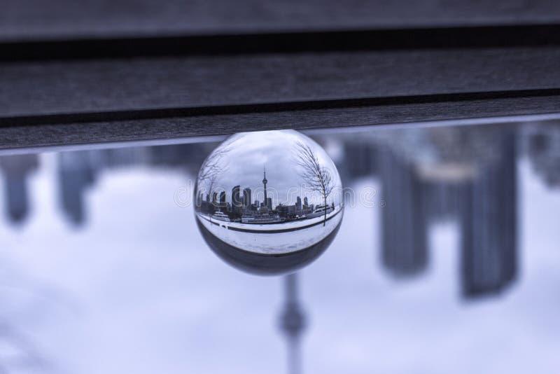 Toronto view through crystal ball stock photography