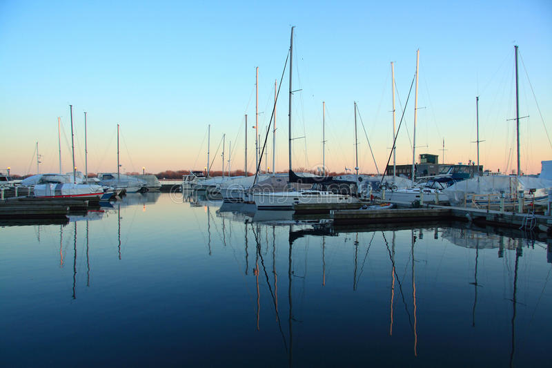 Toronto Yacht Club. Yacht Club at Toronto Ontario Canada. Beautiful scene of the yacht club during sunset stock images