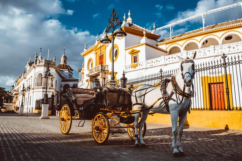 Toros de Sevilla f?r Seville verkliga Maestranza tjurf?ktningsarenaplaza i andalusia Spanien fotografering för bildbyråer