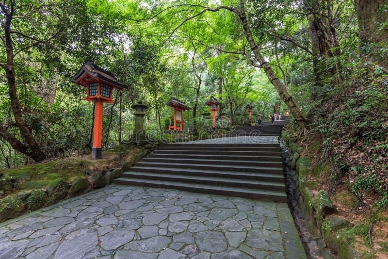 Toros vermelhos no santuário dos EUA Jingu, Oita, Japão imagem de stock