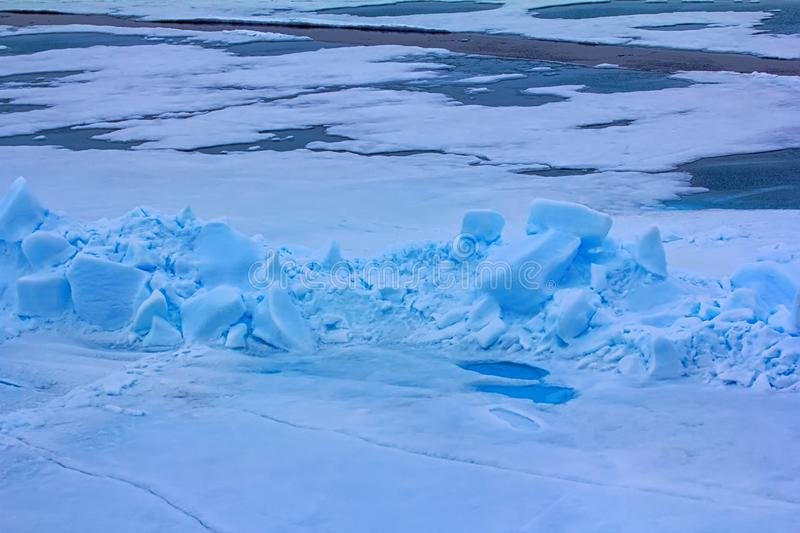 Toross and melt water pool in Arctic ocean at latitude 88 degree. S, Ice near North pole in 2016 stock photography