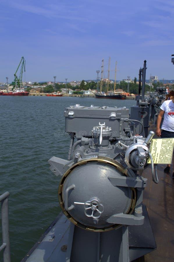 Torpedo apparatus on battleship. Torpedo apparatus for launching torpedoes against submarines on docked warship at Varna port,Bulgaria stock photography