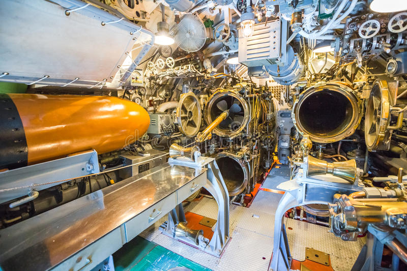 Torpedo crew sleeping quarter. HONOLULU, OAHU, HAWAII, USA - AUGUST 21, 2016: torpedoes housed in the crew`s sleeping quarter of USS Bowfin Submarine SS-287 at royalty free stock photos