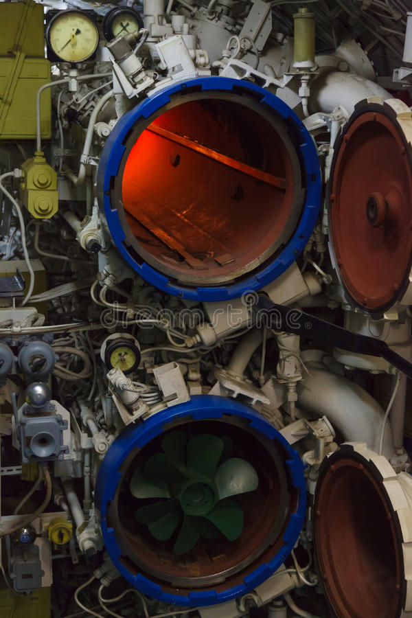 Torpedo room and torpedoes. In the diesel submarine royalty free stock photo