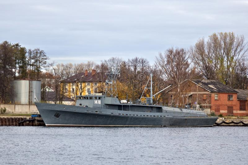 BALTIYSK, RUSSIA - NOVEMBER 04, 2018: Torpedo ship TL-1476 of the project 1388. Torpedo ship TL-1476 of the project 1388. Boat intended for search and lift royalty free stock photo