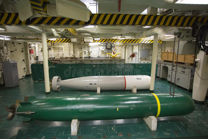 Torpedoes in the torpedo shop. On the second deck of the USS Hornet stock photo