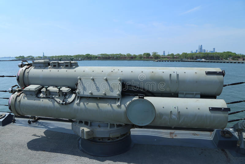 Torpedoes on US Navy destroyer during Fleet Week 2016 in New York. NEW YORK - MAY 26, 2016: Torpedoes on US Navy destroyer during Fleet Week 2016 in New York stock photo