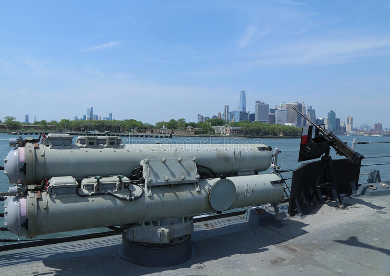 Torpedoes on US Navy destroyer during Fleet Week 2016 in New York. NEW YORK - MAY 26, 2016: Torpedoes on US Navy destroyer during Fleet Week 2016 in New York stock photography