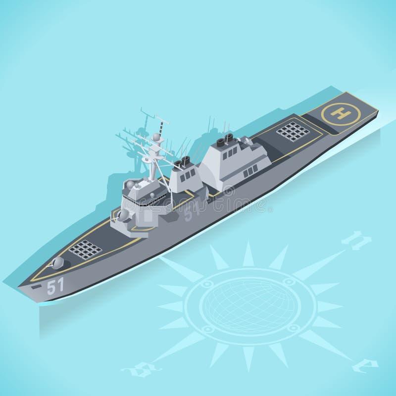 Torpedojager 01 Isometrisch Voertuig stock illustratie
