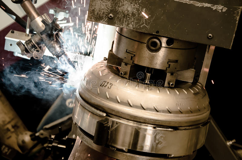 Torque Converter Welding Process stock photos