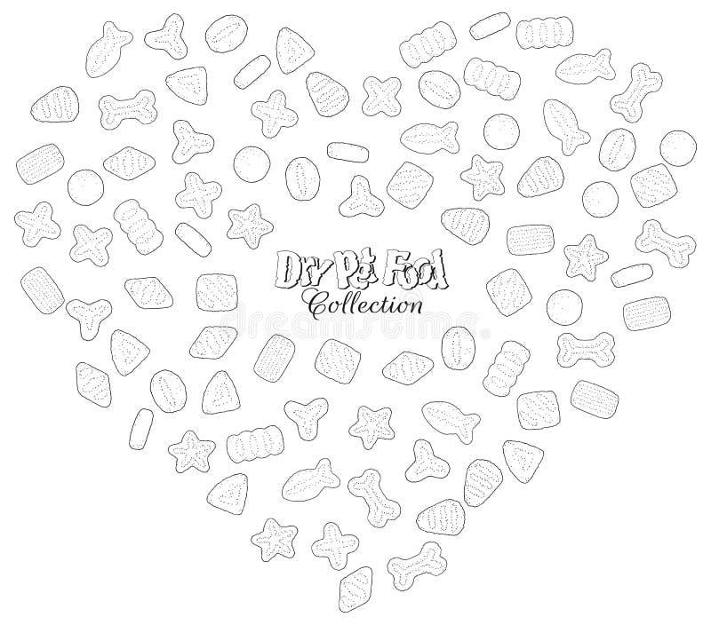 Torr älsklings- mat i hjärtaklottren vektor illustrationer