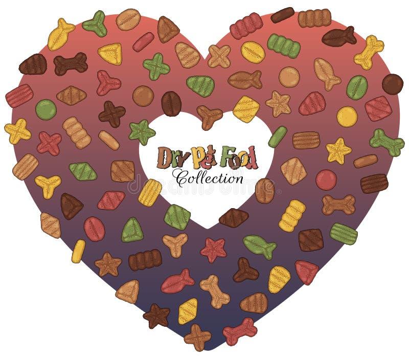 Torr älsklings- mat i hjärtan royaltyfri illustrationer