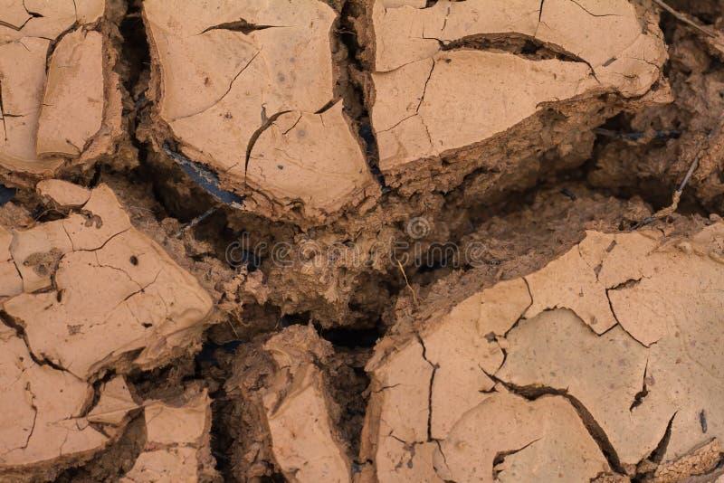 Torr jord och sprucken jordning knäcker djupt jord i det röda landet som ett symbol av det varma klimatet och torkan arkivfoton