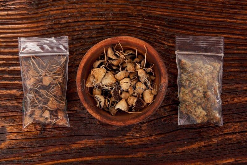 Torr psilocybinmagi plocka svamp, och marijuana slår ut i plastpåse royaltyfri foto